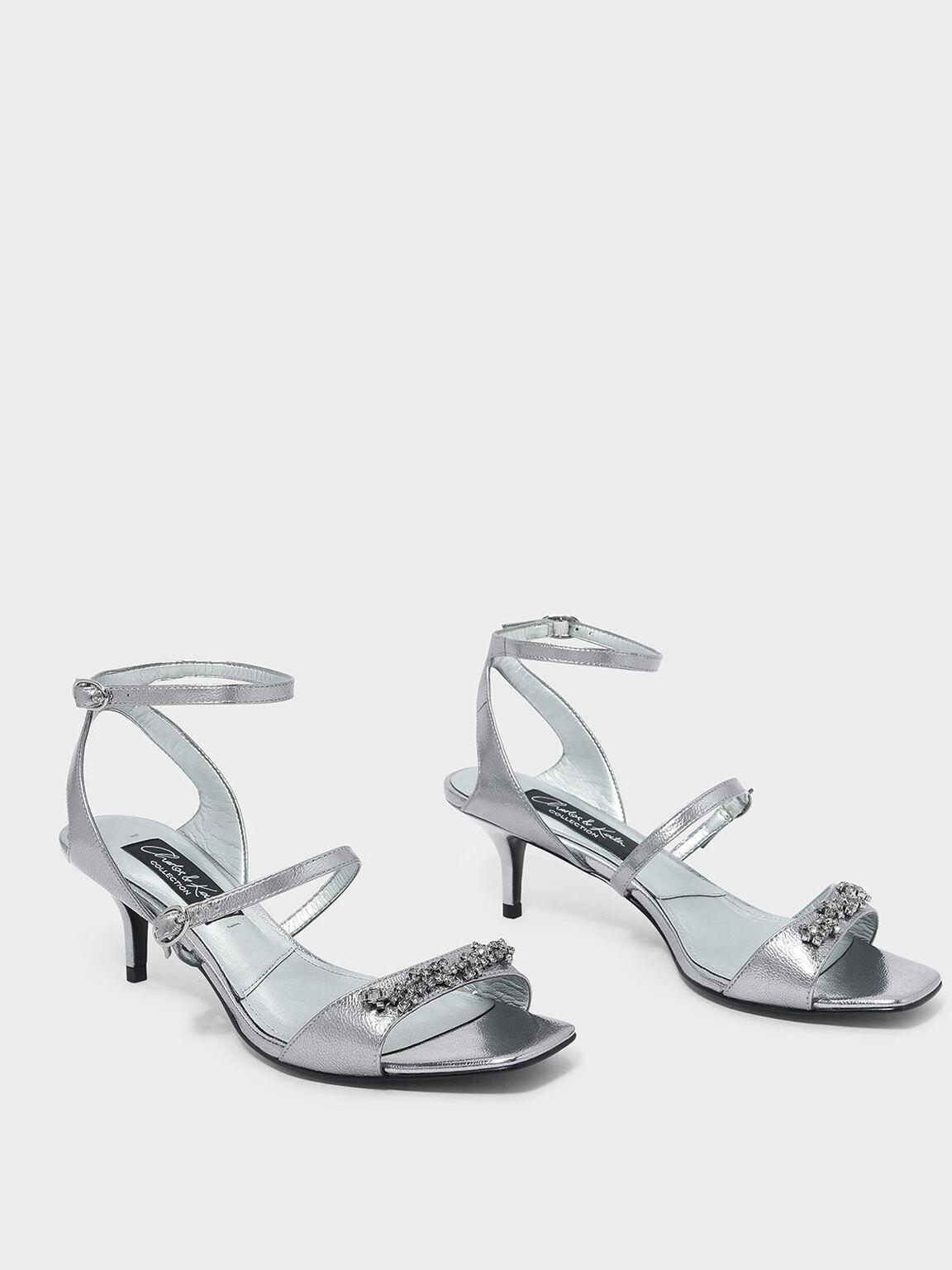 Embellished Leather Heeled Sandals, Pewter, hi-res