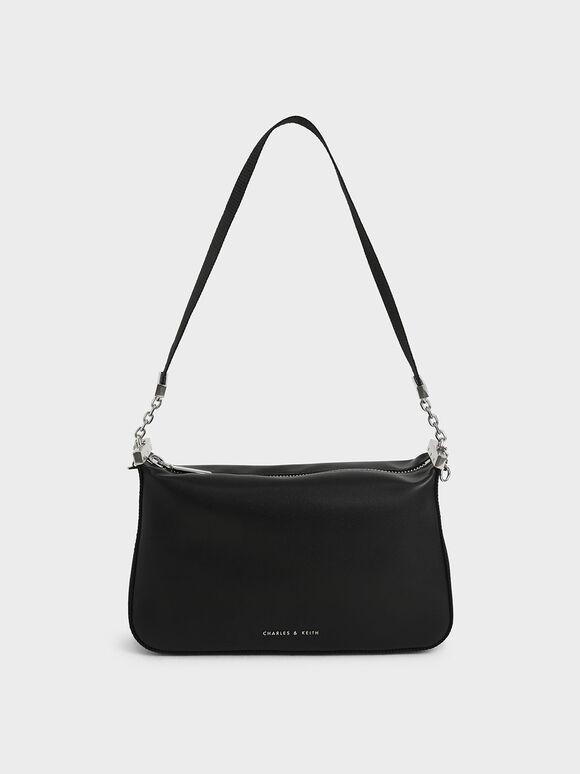 Zip Shoulder Bag, Black, hi-res