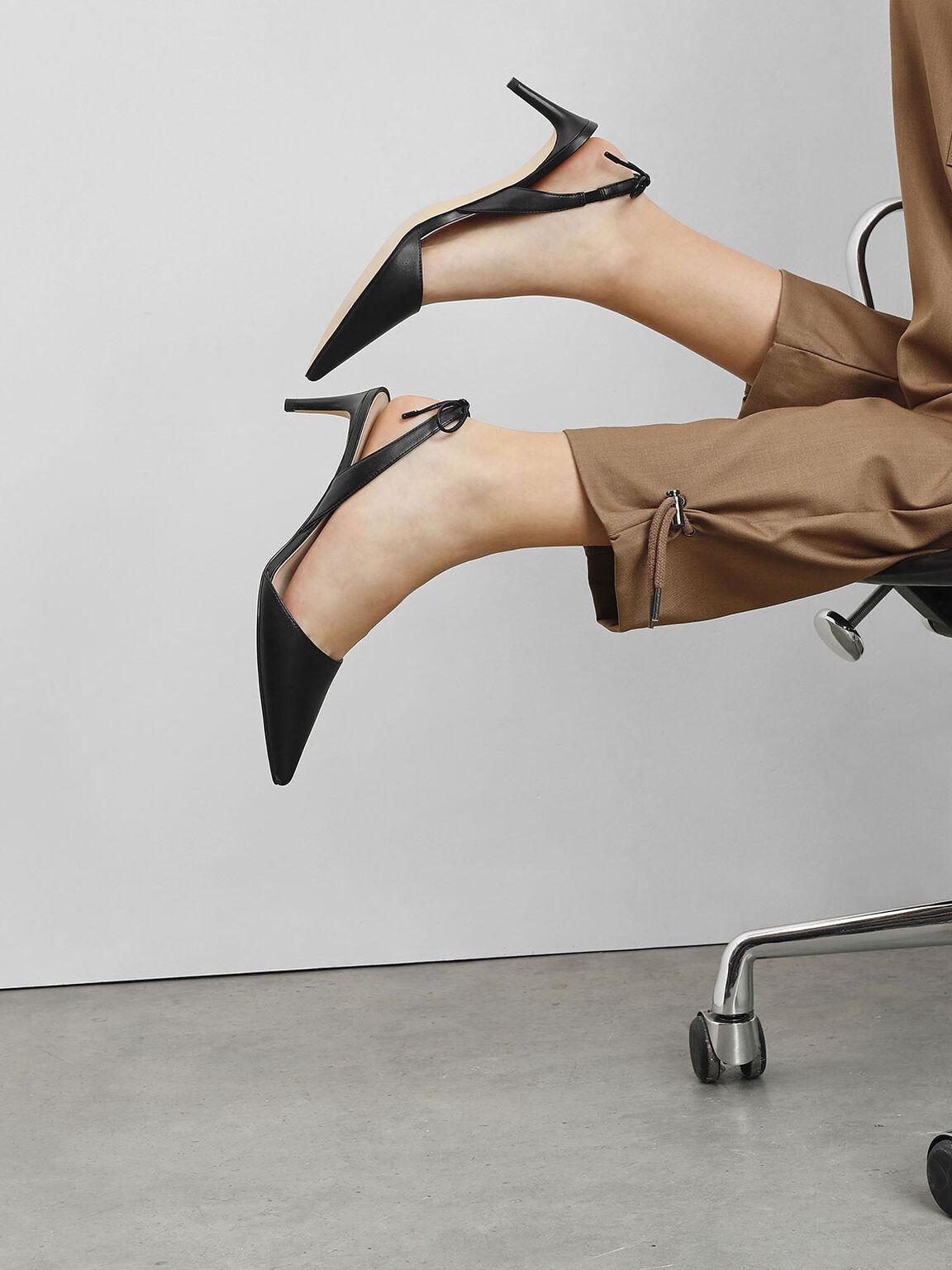 Tie Back Slingback Heels, Black, hi-res