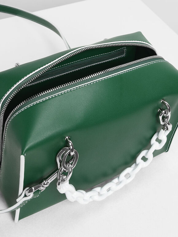 Double Chain Handle Bag, Green, hi-res