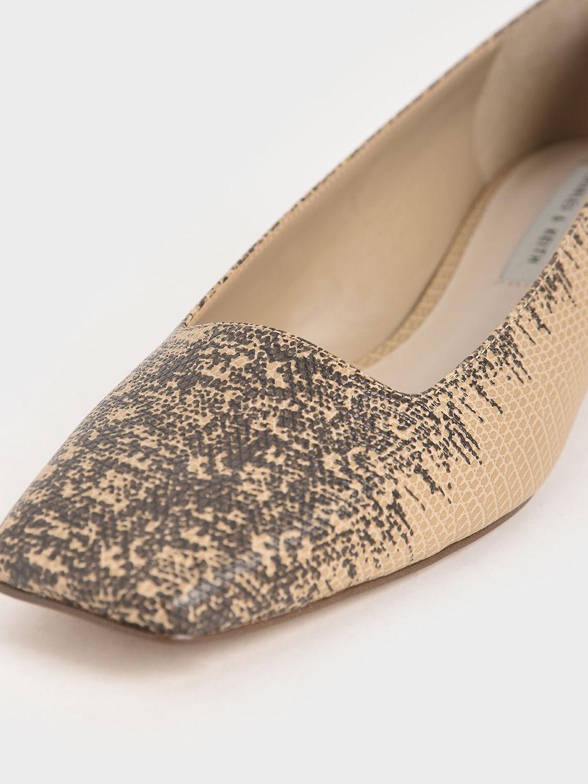 Snake Print Square Toe Court Shoes, Animal Print Natural, hi-res