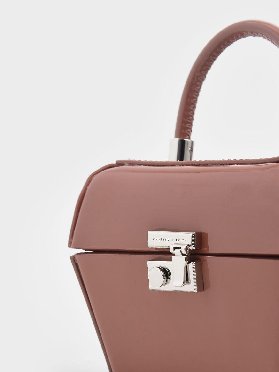 Patent Mini Sculptural Top Handle Bag, Nude, hi-res