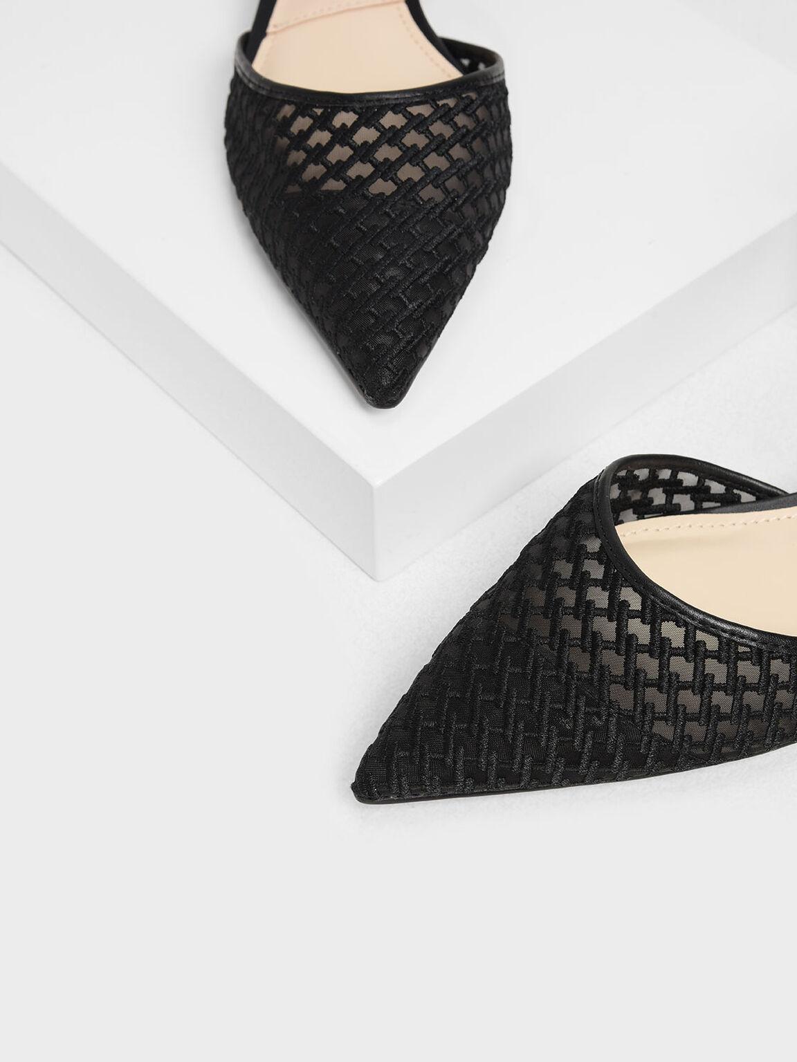 Mesh Mini Block Heel Sandals, Black, hi-res