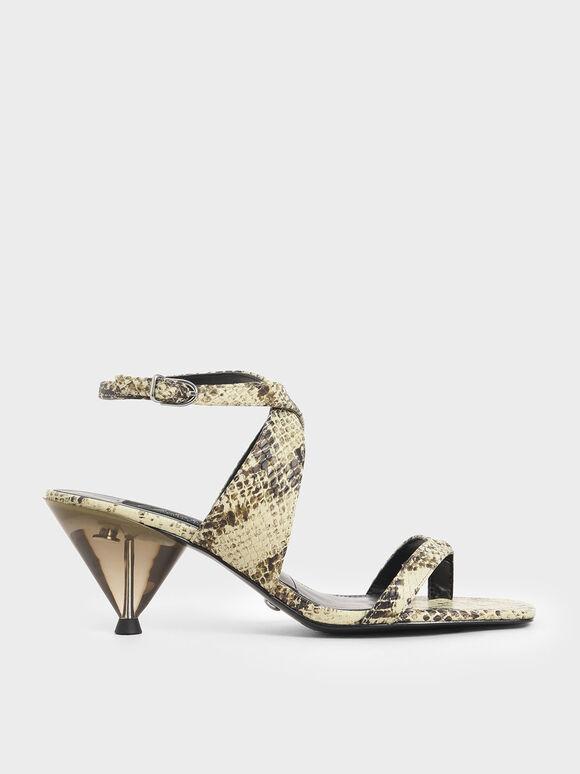 Leather Snake Print Chrome Heel Sandals, Multi, hi-res