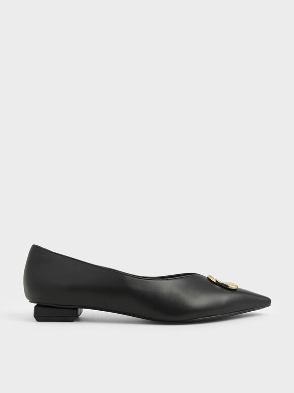 Metal Accented Ballerina Flats, Black, hi-res