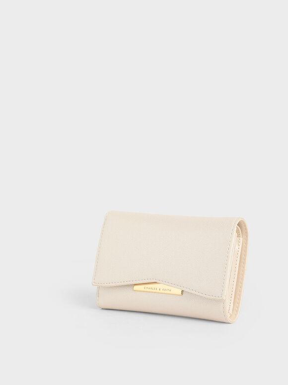Metallic Accent Mini Short Wallet, Pearl, hi-res