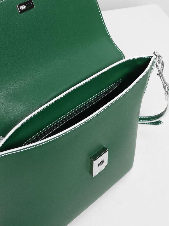 Single Chain Handle Bag, Green, hi-res