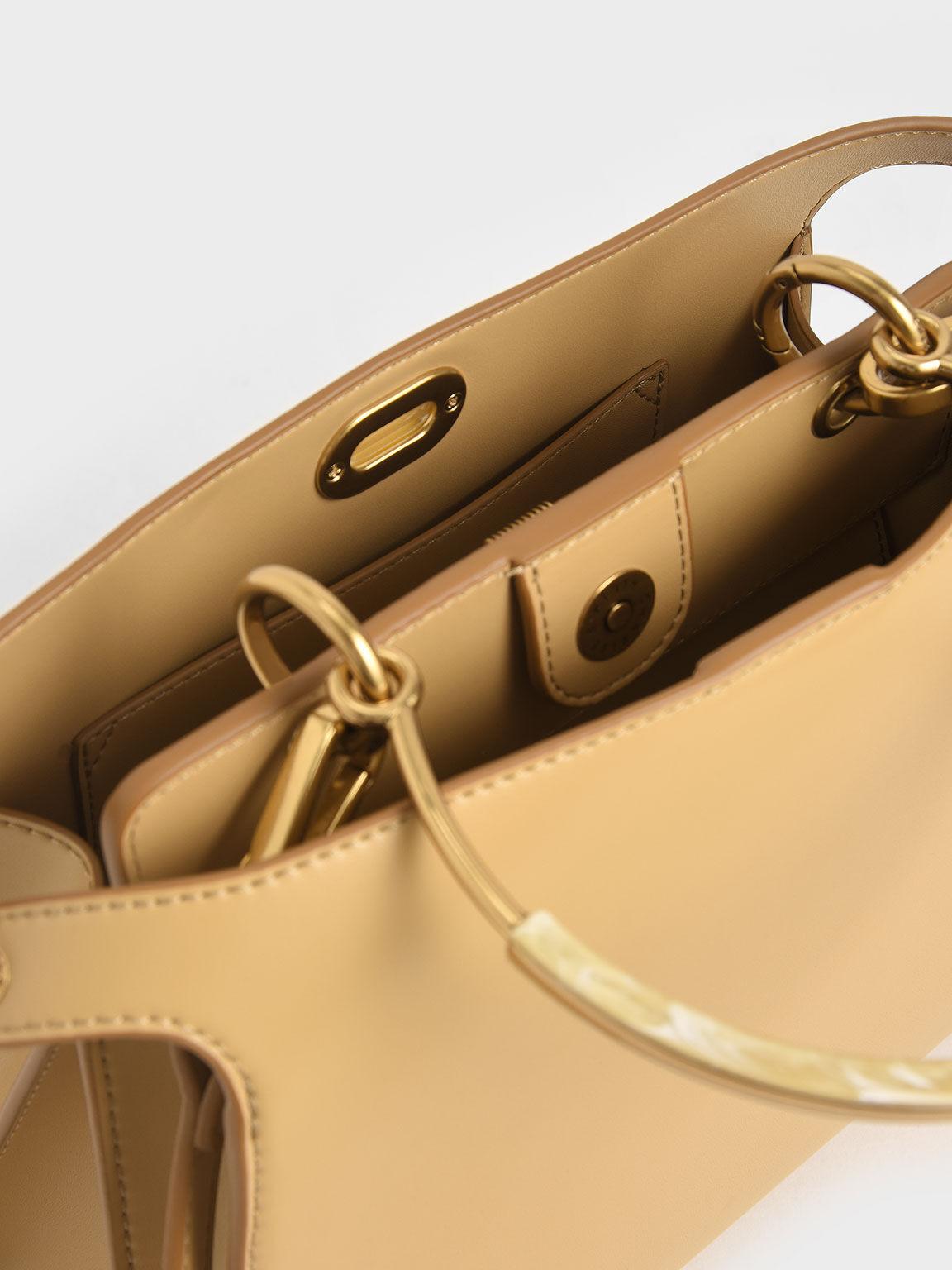 Metal Handle Trapeze Bag, Yellow, hi-res