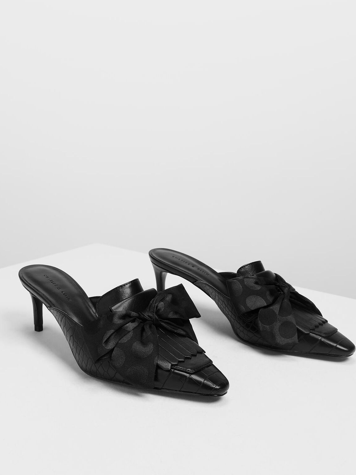 Knotted Bow Mules, Black, hi-res
