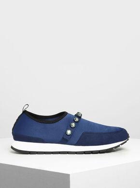 Embellished Slip-On Sneakers, Dark Blue