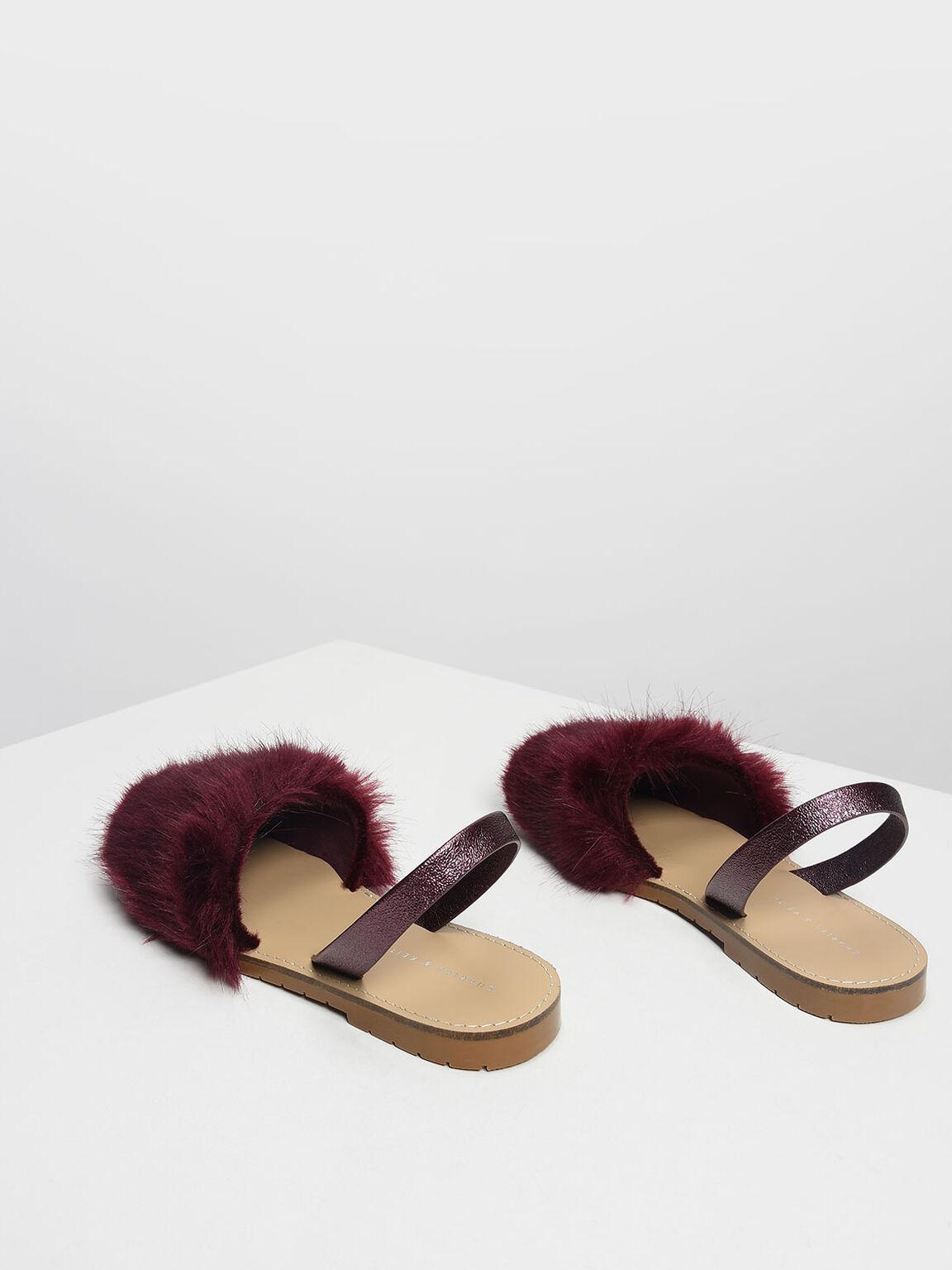 Furry Slingback Sandals, Purple, hi-res