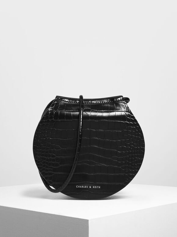 Semi Circle Croc-Effect Crossbody Bag, Black, hi-res