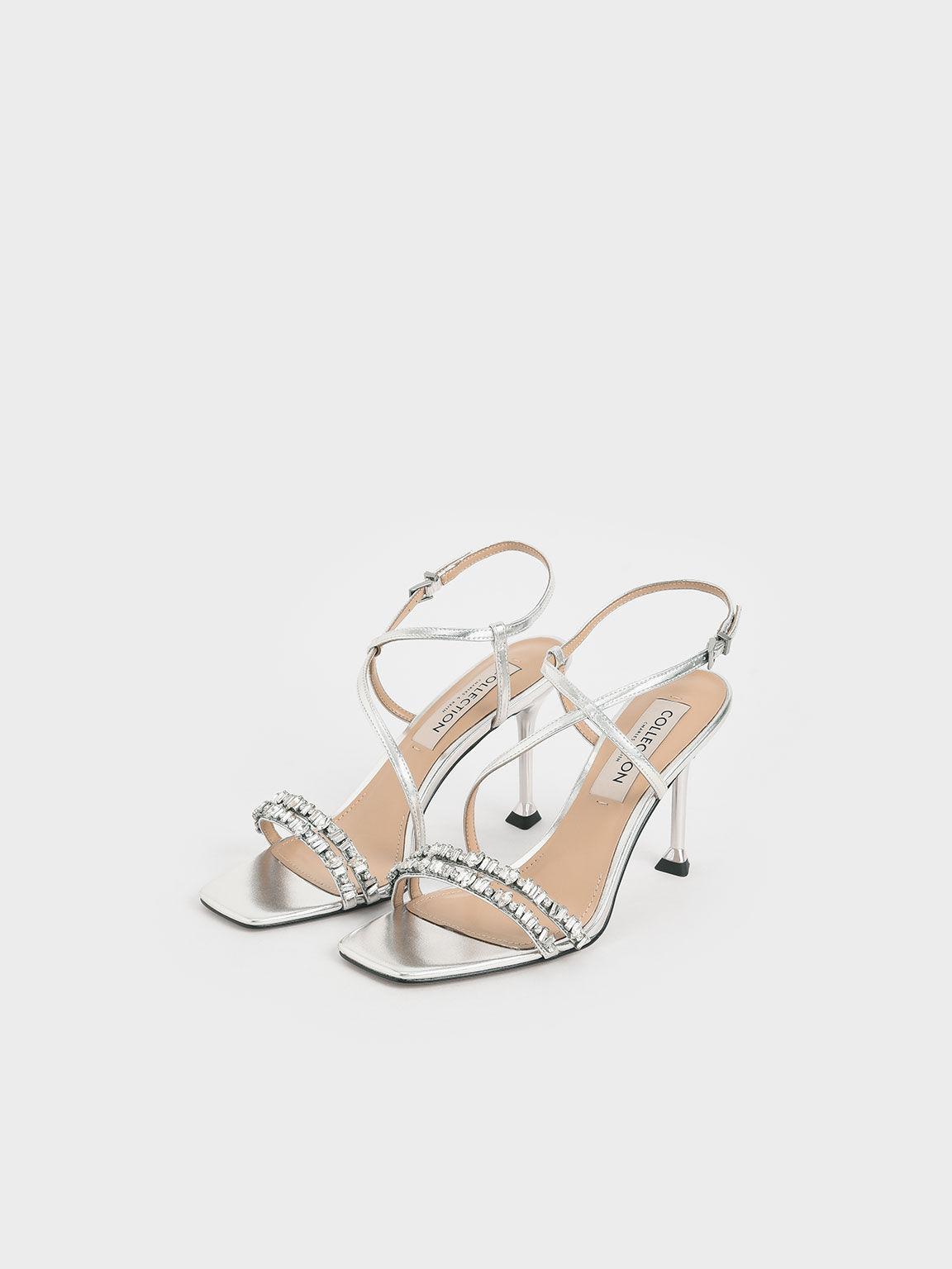 Wedding Collection: Metallic Leather Gem-Embellished Asymmetric Sandals, Silver, hi-res