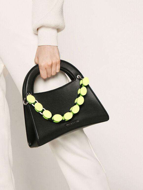 壓克力鍊條手提包, 黑色, hi-res
