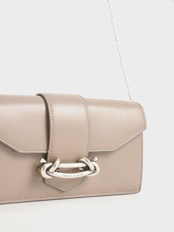 Metallic Buckle Mini Long Wallet, Sand, hi-res