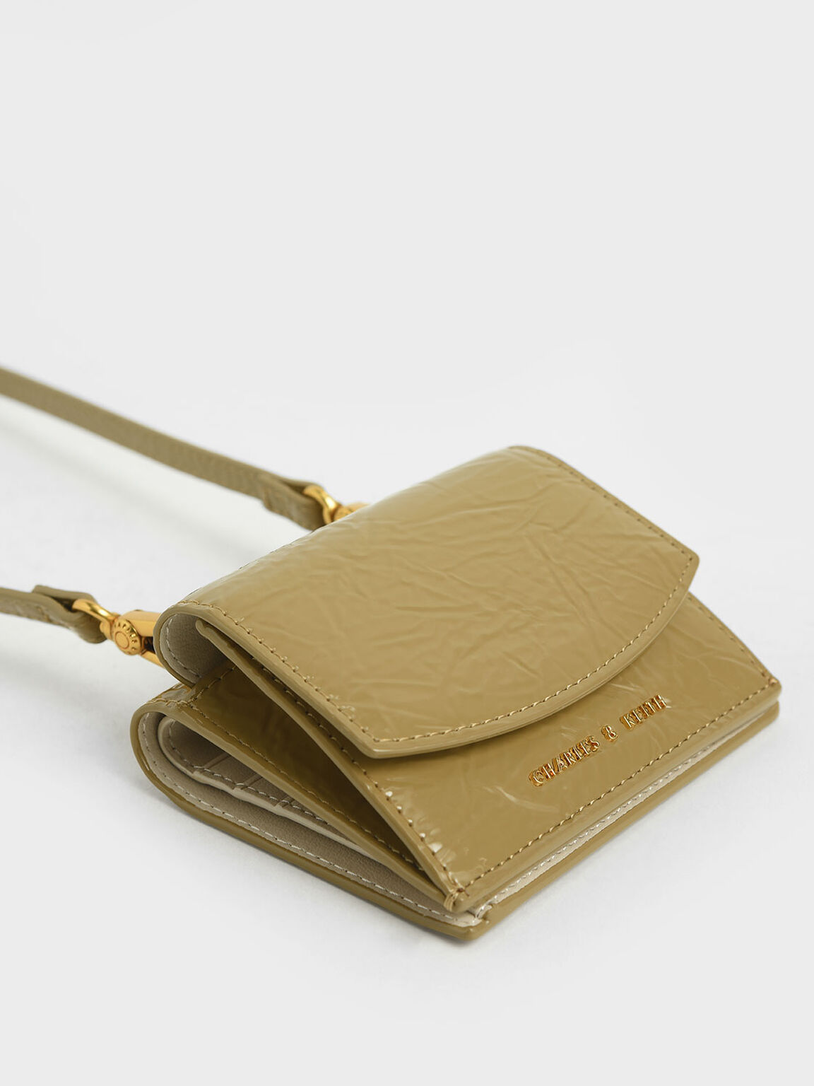 Wrinkle Patent Mini Short Wallet, Sand, hi-res