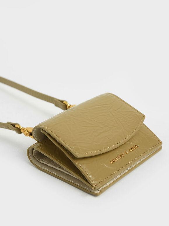 Wrinkle Patent Mini Short Wallet, Sand, hi-res