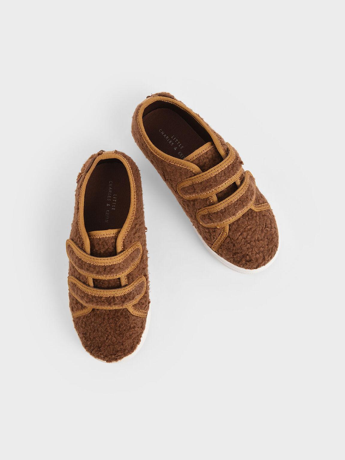 Girls' Textured Sneakers, Brown, hi-res