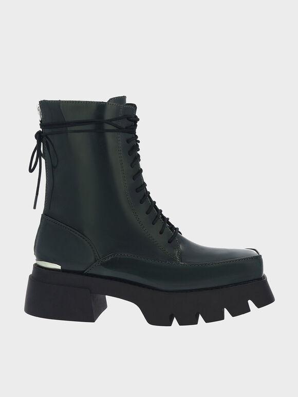 Lace-Up Platform Calf Boots, Dark Green, hi-res