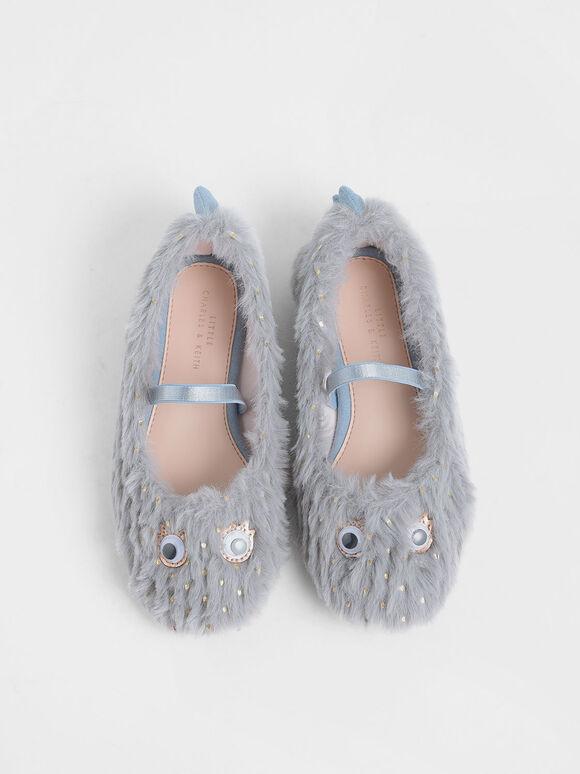 Girls' Furry Eye Detail Mary Jane Flats, Light Blue, hi-res