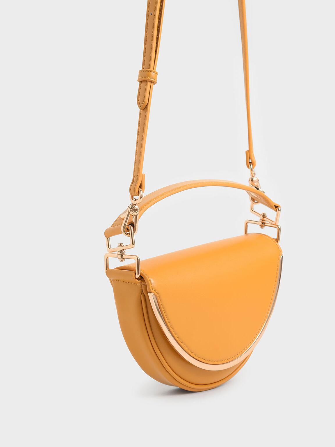 Top Handle Semi-Circle Bag, Mustard, hi-res