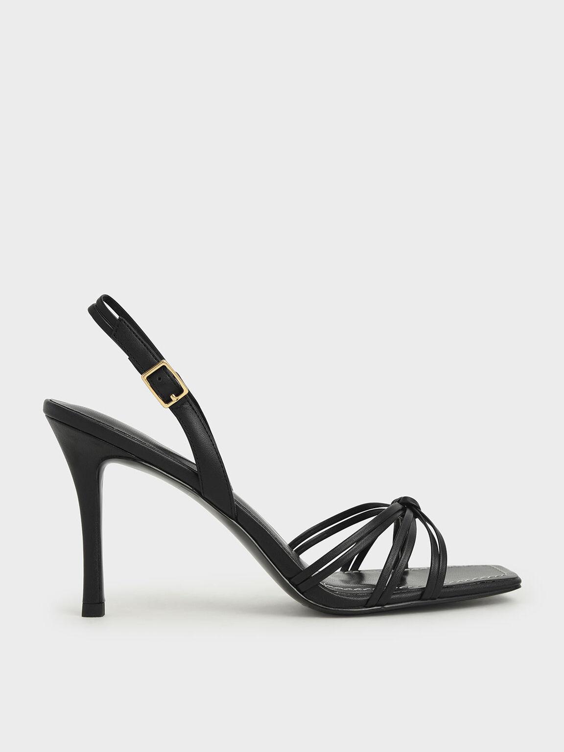 Strappy Slingback Heeled Sandals, Black, hi-res