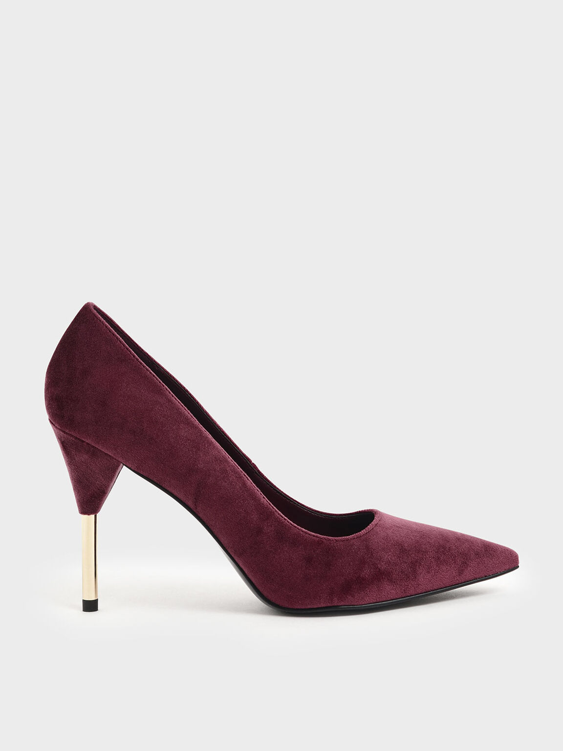 Velvet Metallic Stiletto Heel Pumps, Red, hi-res