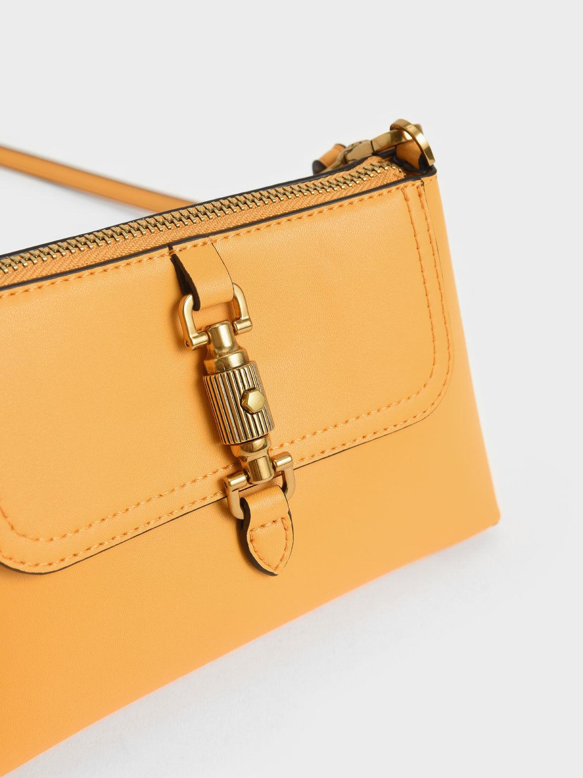 金屬鎖釦手提包, 芥末, hi-res