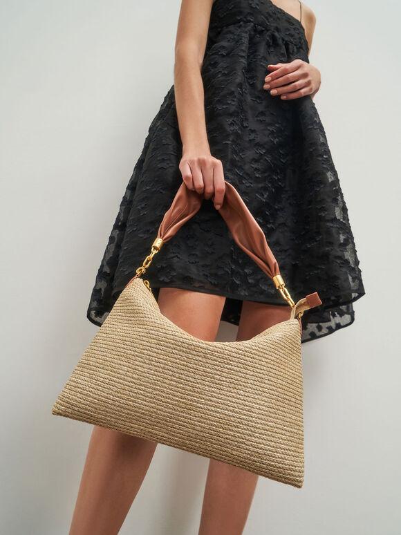 Raffia Hobo Bag, Sand, hi-res