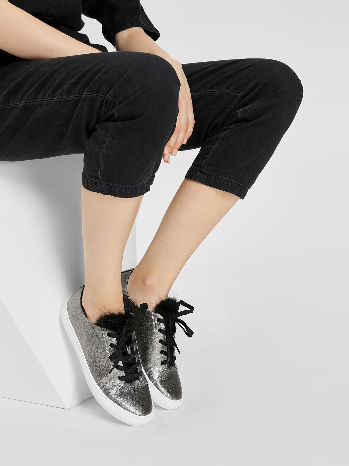 Metallic Lace-Up Sneakers, Pewter, hi-res