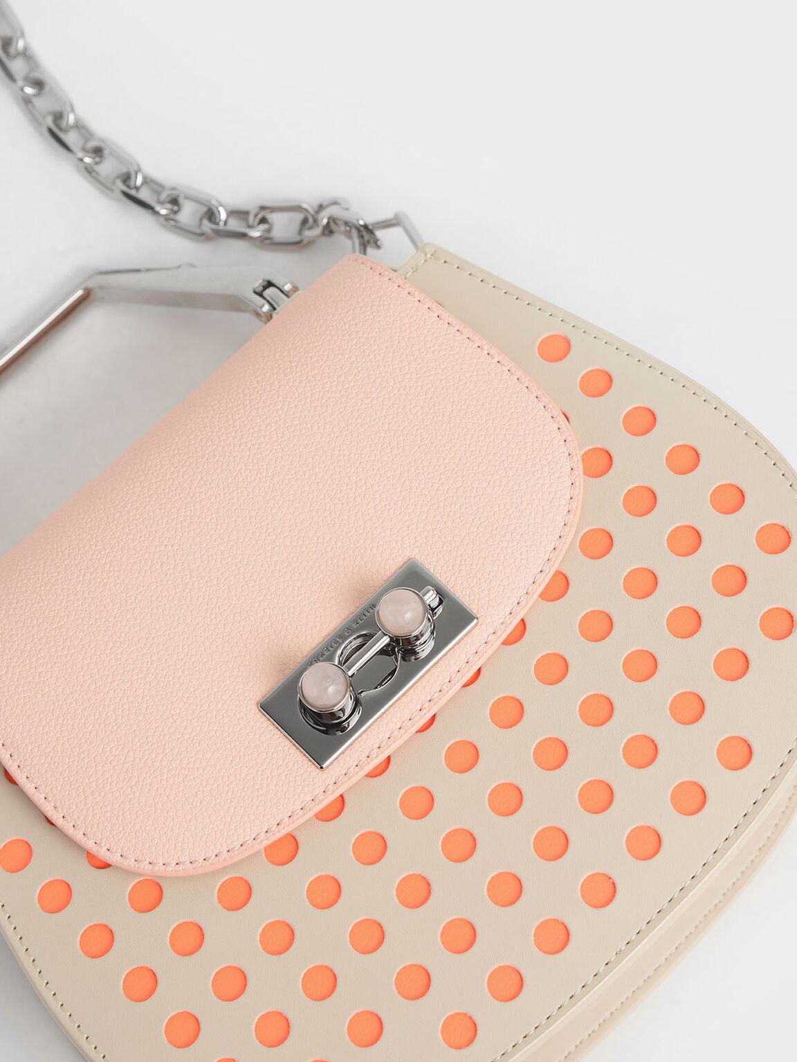지오메트릭 탑 핸들 새들 백, Light Pink, hi-res