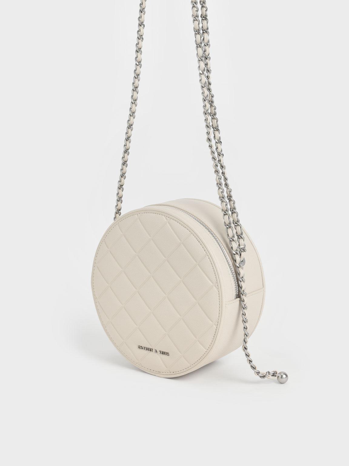 Quilted Circle Bag, Cream, hi-res