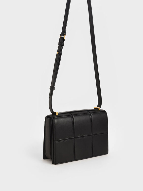 Textured Panelled Shoulder Bag, Black, hi-res
