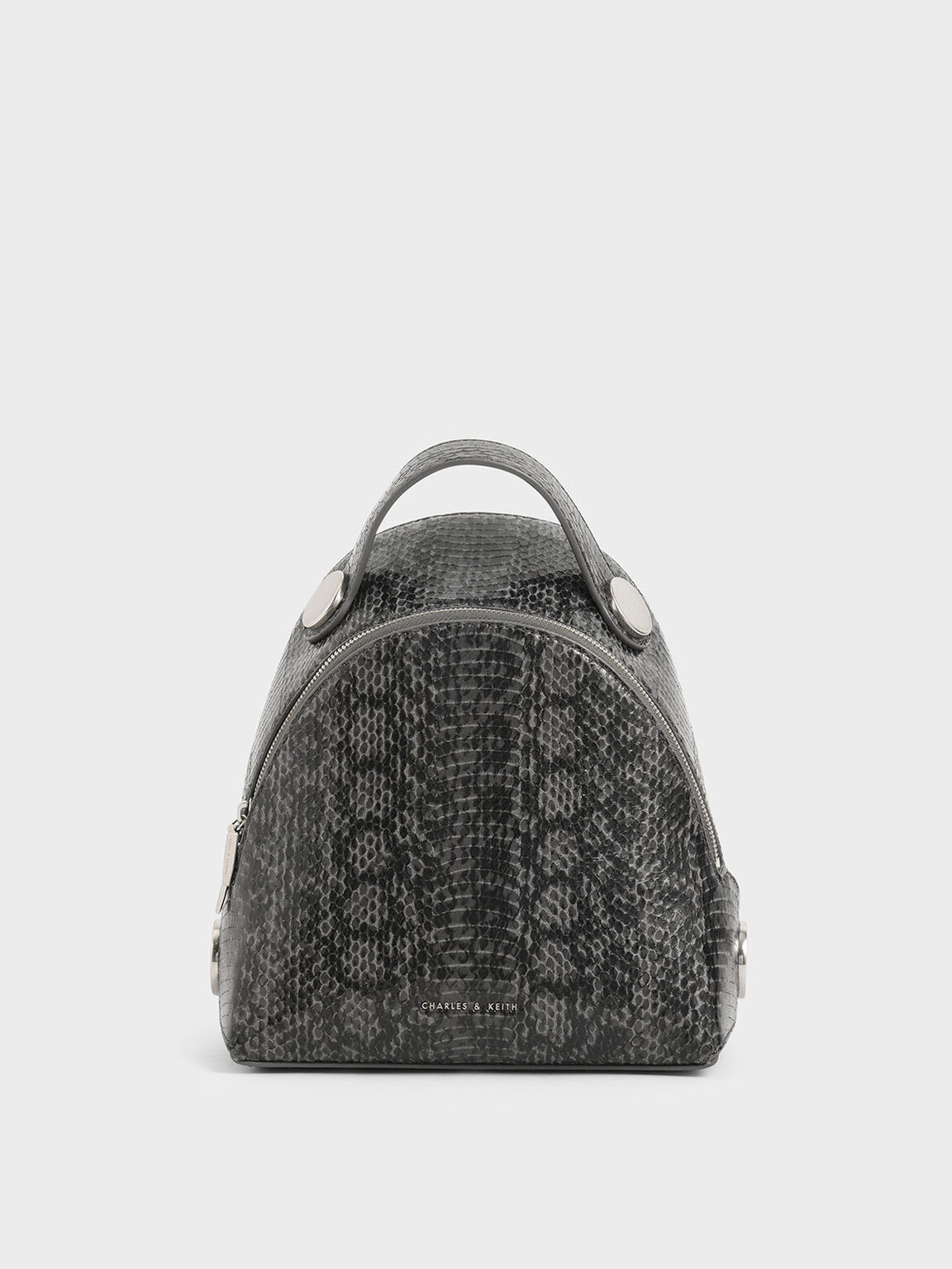 Snake Print Dome Backpack, Grey, hi-res