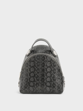 Snake Print Dome Backpack, Grey