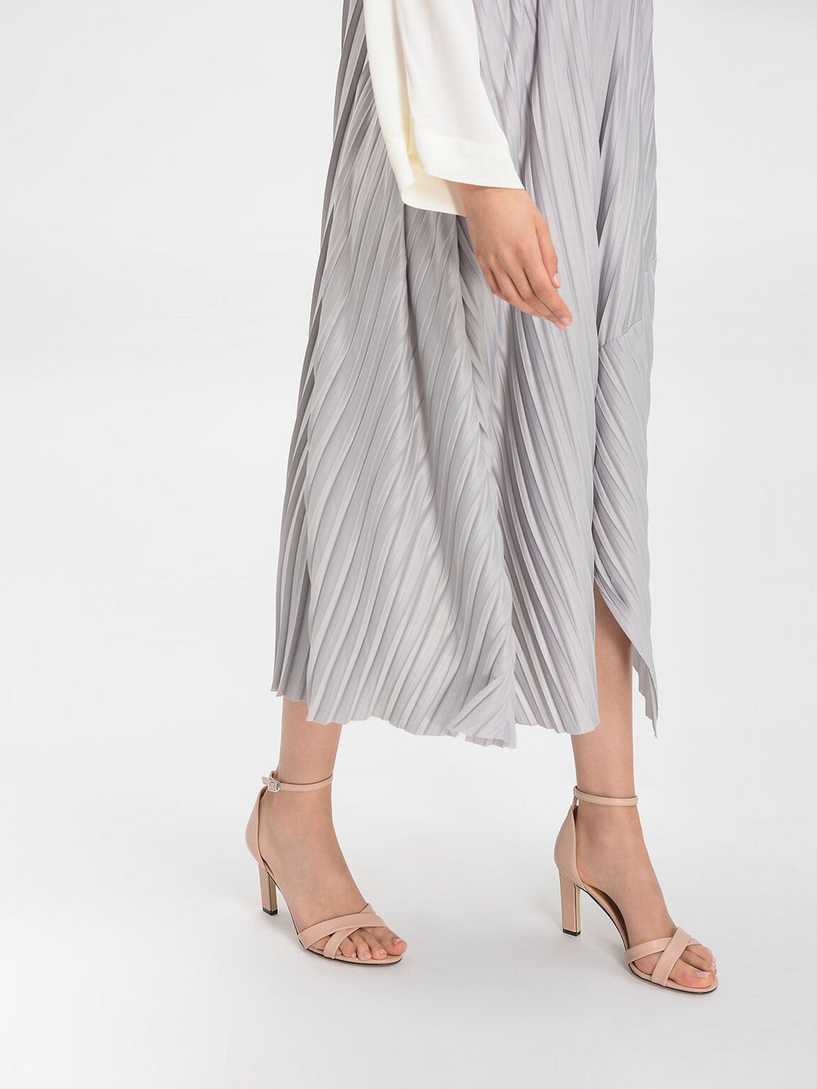 Ankle Strap Criss Cross Heeled Sandals, Nude, hi-res