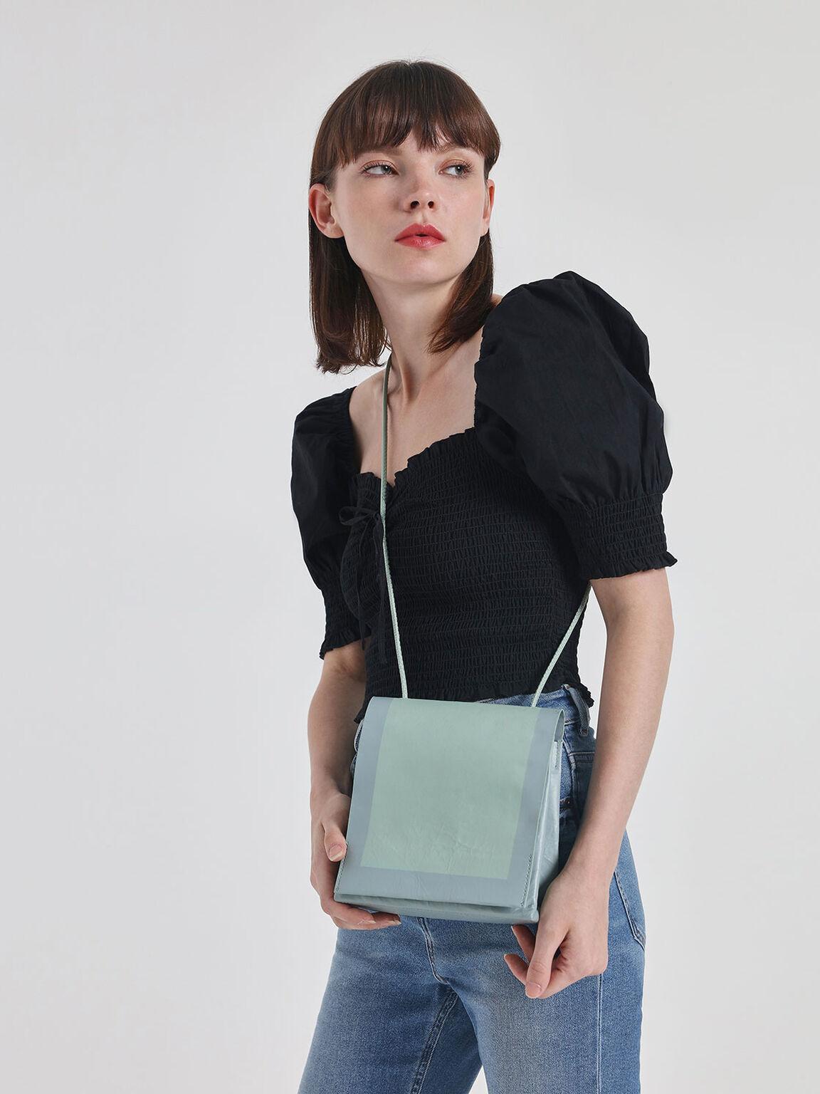 Crumpled Effect Top Handle Bag, Mint Green, hi-res