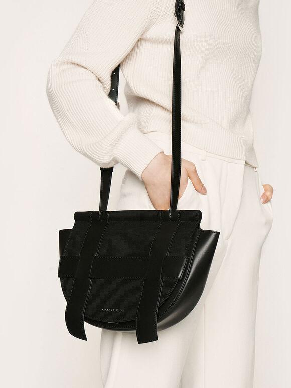 Caged Canvas Crossbody Bag, Black, hi-res
