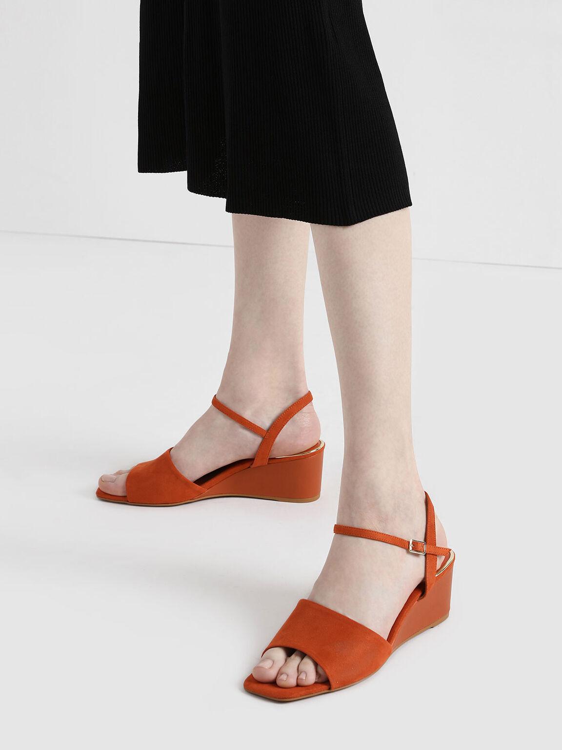 Ankle Strap Wedges, Brick, hi-res