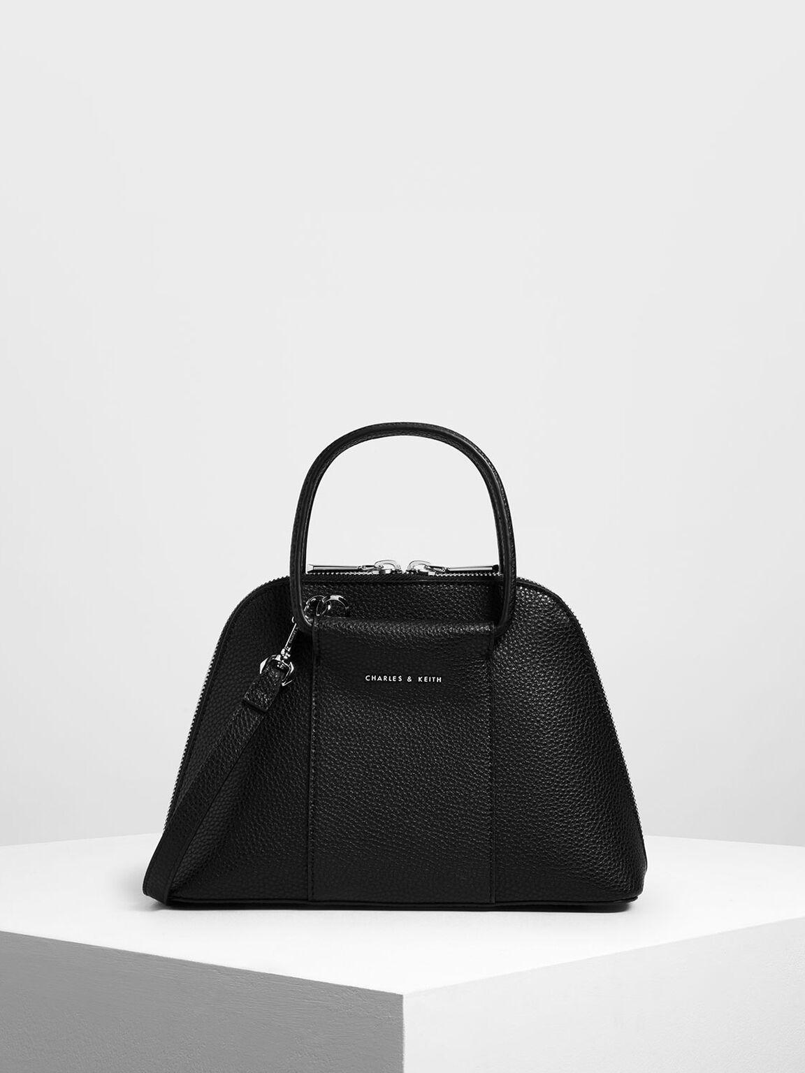 Mini Ring Handle Dome Bag, Black, hi-res
