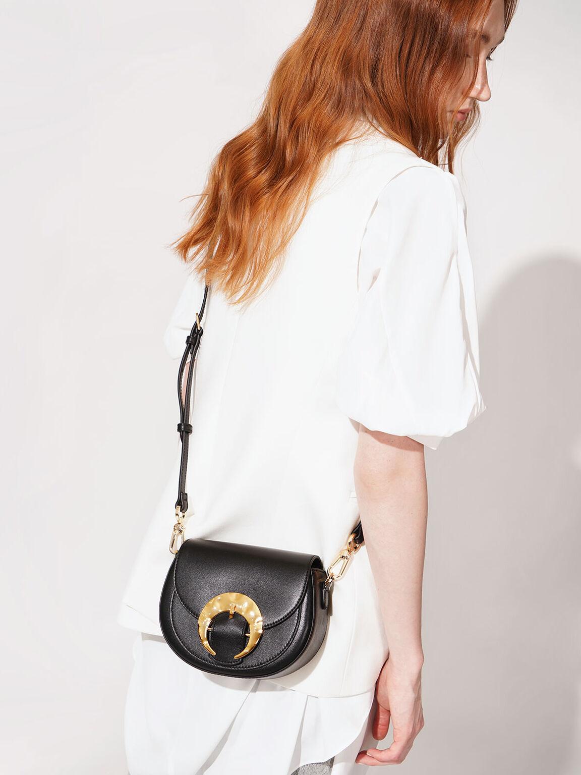 Leather Saddle Bag, Black, hi-res