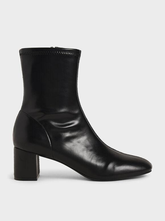 拼接粗跟短靴, 黑色特別款, hi-res