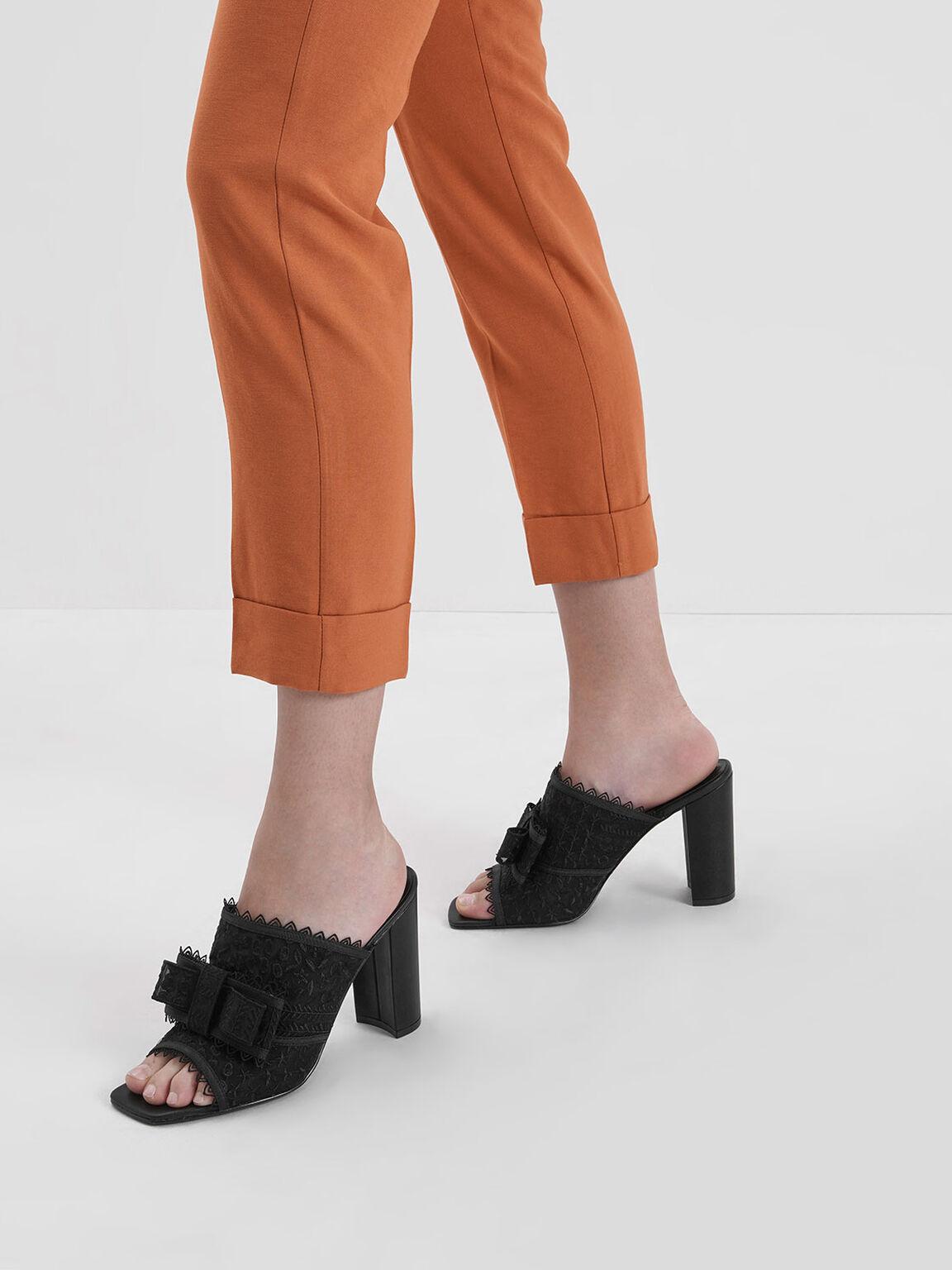 網紗蝴蝶結穆勒鞋, 黑色, hi-res
