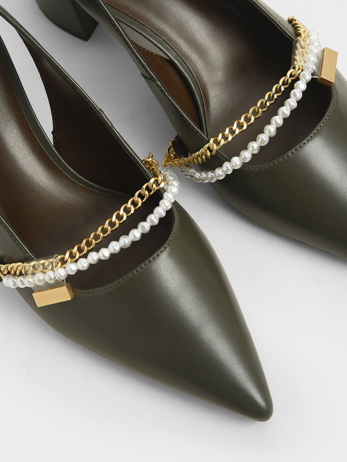 Embellished Slingback Pumps, Military Green, hi-res