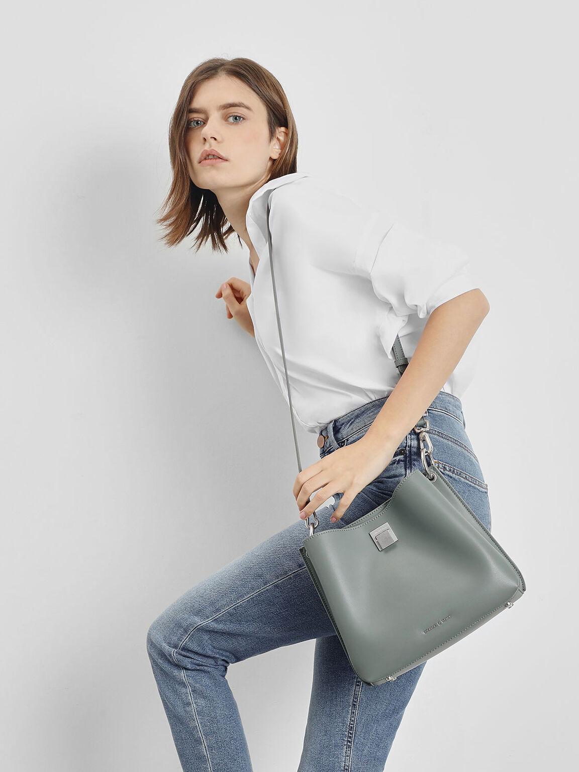 Buckle Shoulder Bag, Moss, hi-res