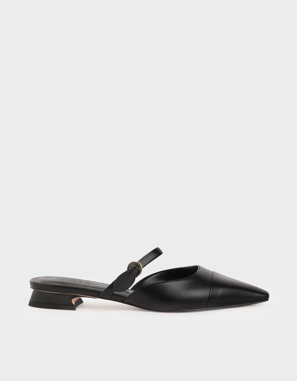 Black Mary-Jane-Strap-Flat-Mules