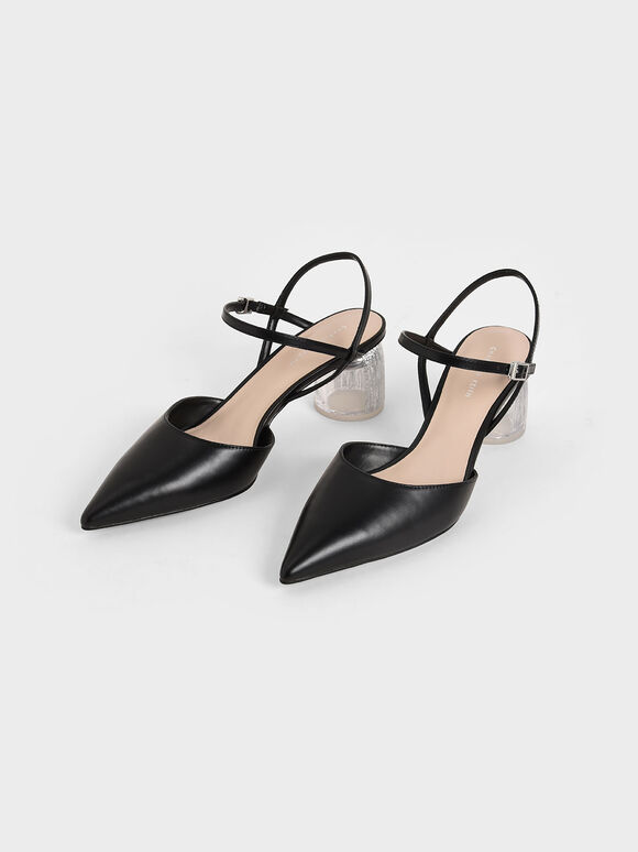Sculptural Heel Ankle Strap Pumps, Black, hi-res