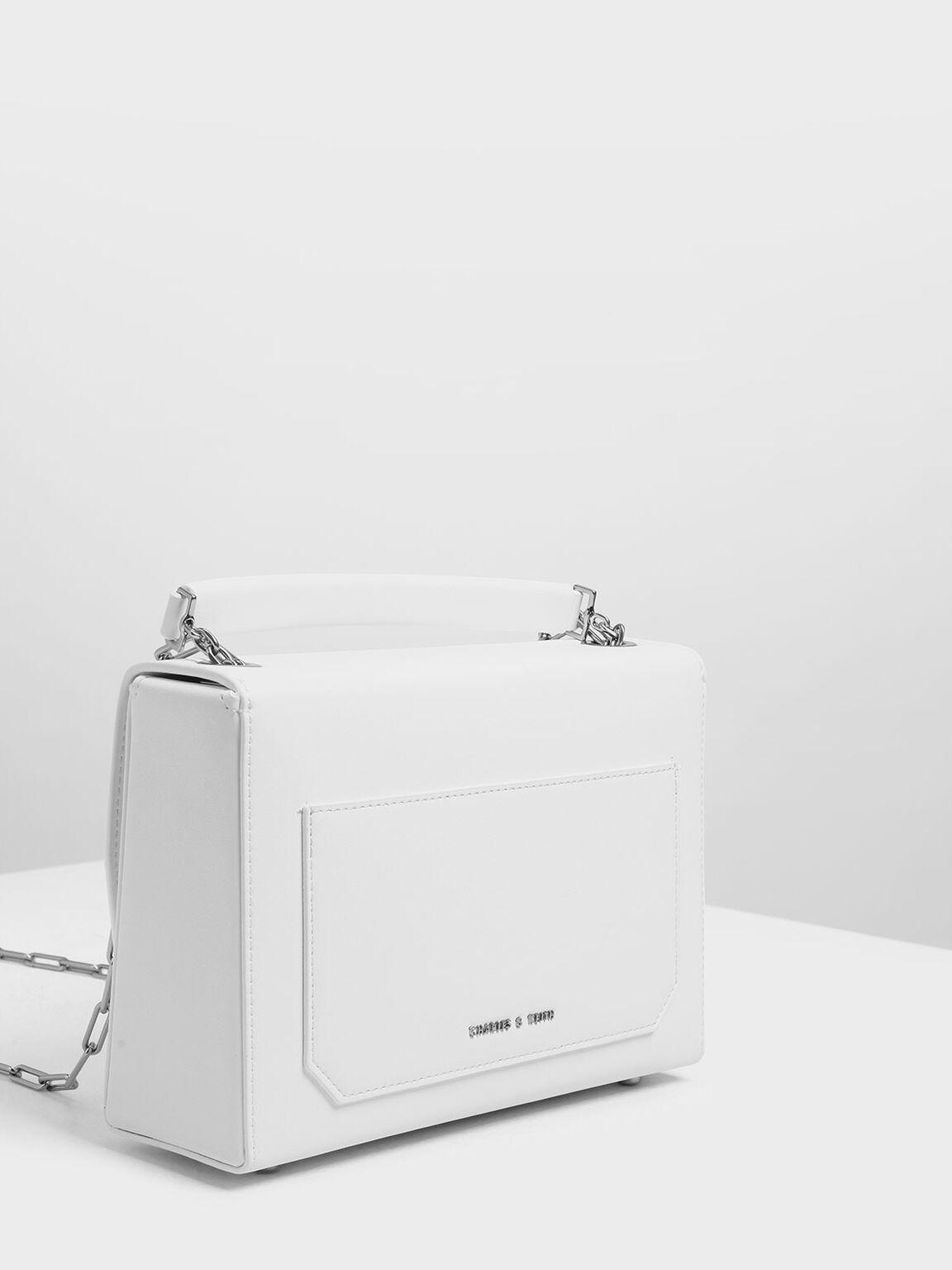 Metallic Accent Single Handle Bag, White, hi-res
