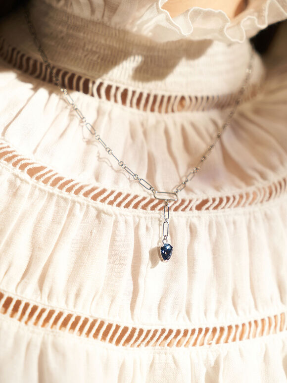 Crystal Drop Necklace, Silver, hi-res