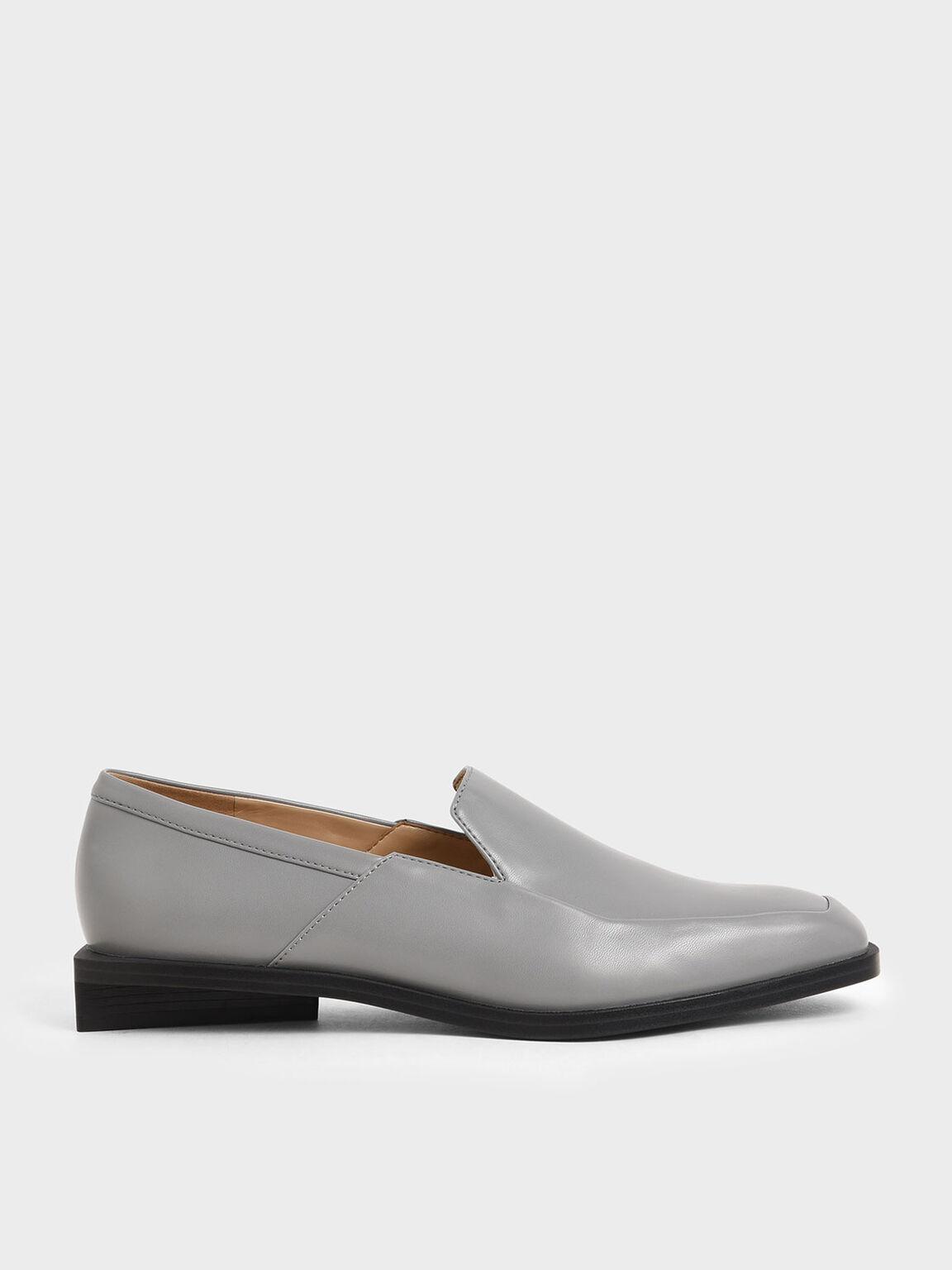 Classic Loafer Flats, Grey, hi-res